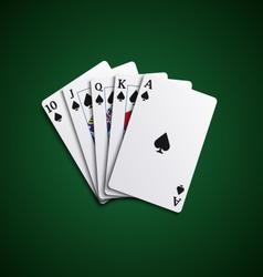 Poker cards flush leaves hand vector