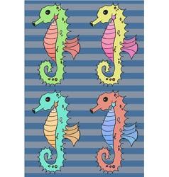Seahorse cartoon set vector image vector image