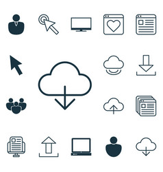 Set of 16 internet icons includes data vector