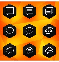 Speech bubble Hexagonal icons set on abstract vector image vector image