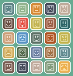 Square face line flat icons on green background vector image