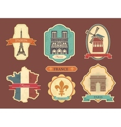 Stickers with symbols of France vector image