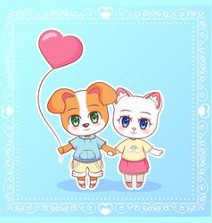 sweet little cute kawaii anime cartoon puppy cat vector image