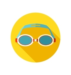 Swimming Goggles flat icon with long shadow vector image vector image
