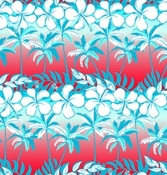 Tropical palm tree with hibiscus flowers and palms vector image vector image