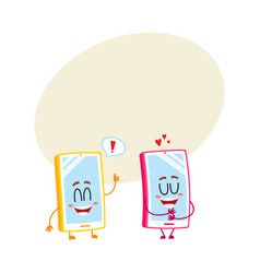 two cartoon mobile phone characters showing love vector image