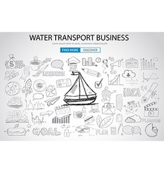 Water Transport Business Concept with Doodle vector image