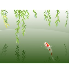 Willow and carp vector