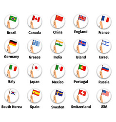 wolrd flags set in hand vector image