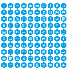 100 camera icons set blue vector