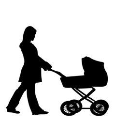 Silhouette of a woman pushing a stroller vector