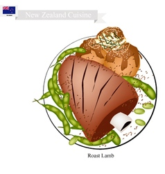 Roasted lamb with meat balls dish of new zealand vector