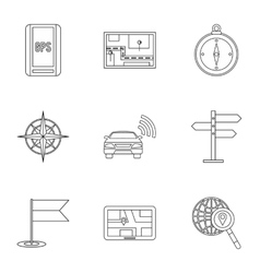 Search territory icons set outline style vector