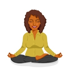 African american businesswoman in yoga lotus pose vector