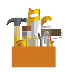 Toolkit inside of wooden box vector