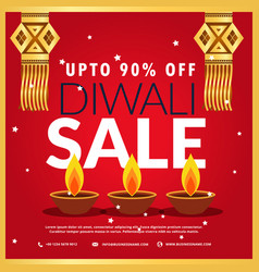 Diwali festival sale poster with three diya and vector