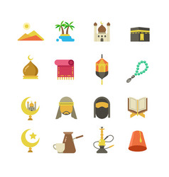 Arabic muslim culture icons arabian vector