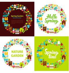Spring garden flat circles vector