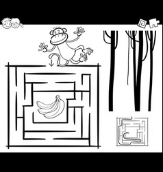 Maze with monkey coloring page vector
