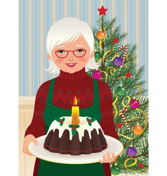 Grandmother and Christmas cake vector image