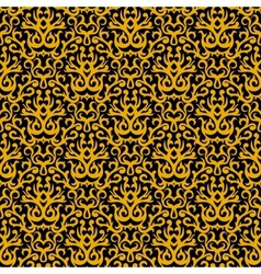 Damask pattern in gold on black vector