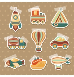 Transport toy stickers set vector