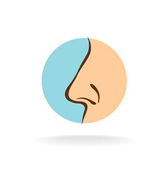 Nose silhouette in a round color symbol vector
