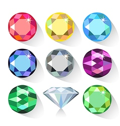 Long shadow flat style set of colored gems vector