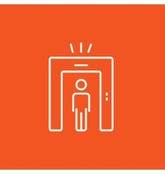 Man going through metal detector gate line icon vector