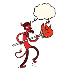 Cartoon devil with pitchfork with thought bubble vector