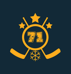 71 number ice hockey emblem vector image vector image