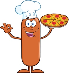 Chef Sausage Cartoon with Pizza vector image