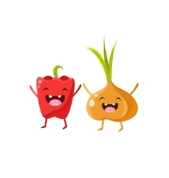 Sweet pepper and onion cartoon friends vector