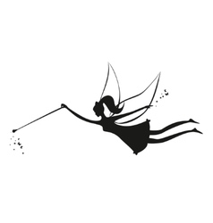 Fairy black silhouette with a magic wand vector image