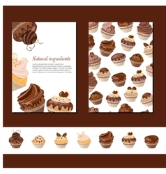 Template with chocolate muffins vector