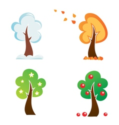 all season tree icons set vector image vector image