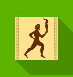 Athlete with olympic fire icon in flat style vector