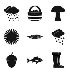 autumn rain clouds icon set simple style vector image