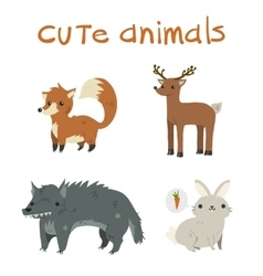 Cartoon set of fox deer wolf rabbit flat icons vector image vector image