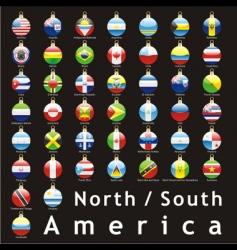 Christmas bulbs Americas flags vector image