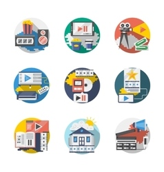 Cinema industry detailed flat icons set vector