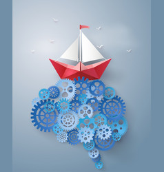 Concept of leader vision and thinking paper boat vector