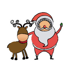 Cute santa claus with reindeer christmas image vector