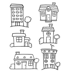Doodle of house set various hand draw vector
