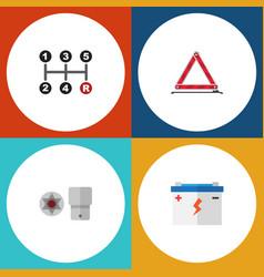 Flat icon auto set of warning accumulator vector