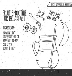 Fruit smoothie for breakfast recipe hand vector