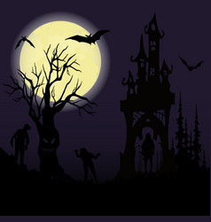halloween party castle creepy tree and a full vector image
