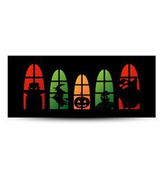 halloween window silhouette banner vector image vector image