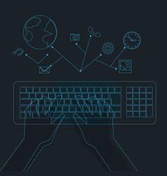 hologram hands typing on hologram keyboard vector image vector image