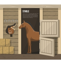 Horse breeding farm stable stall poster vector